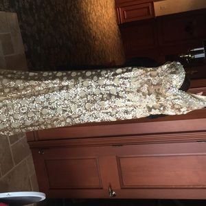 Tiffany gold shimmery pageant dress size 8